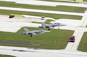 F-18Ds VMFA(AW-224) taking off Andersen AFB 2003.JPEG