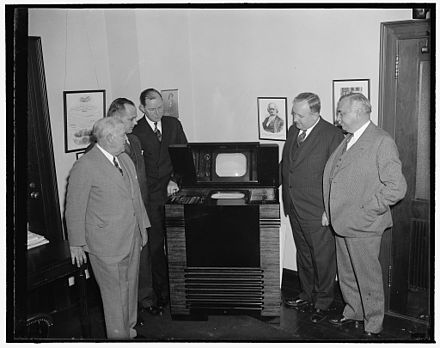 FCC Commissioners inspect the latest in television, December 1, 1939. FCC Commissioners inspect latest in television 1939.jpg