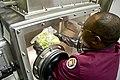 FDA scientist examines a lettuce sample in a sample preparation glove box.jpg