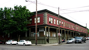 Fairmount Hotel (Portland, Oregon) - View from the northwest, across the intersection of NW 26th Avenue and Vaughn Street