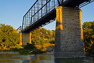 Faust Street walk bridge on the Guadalupe River