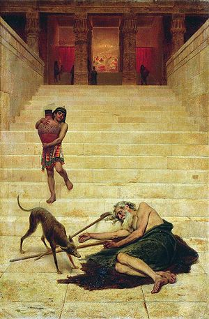 Rich man and Lazarus - Illustration of Lazarus at the rich man's gate by Fyodor Bronnikov, 1886.