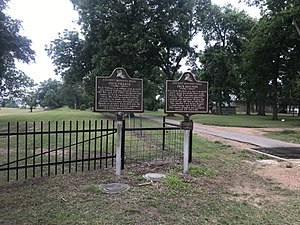 Historic Marker Signs at Ferry Place and Peck Mounds.