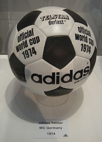 One of two official match footballs of the FIFA World Cup 1974 - the Adidas TELSTAR durlast. The other, was the all-white Adidas CHILE durlast
