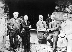 The Omni Grove Park Inn - Harvey Firestone, Thomas A. Edison, Henry Ford and Fred Seely at Grove Park Inn, 1918