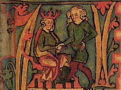 Harald Fairhair of Norway receiving the kingdom of Norway from his father, Halfdan the Black