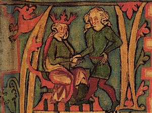 Flateyjarbók - King Harald I of Norway receives Norway out of his father's hands in this illustration from the Flateyjarbók.