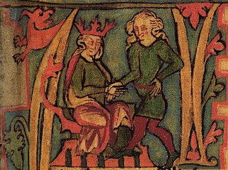 Monarchy of Norway - King Harald receives Norway out of his father's hands in this illustration from the 14th-century Flateyjarbók.