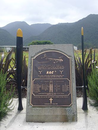 New Zealand National Airways Corporation Flight 441 - A memorial to those who died in the accident. The Kaimai Ranges are seen behind the memorial.