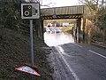 Flooded B3055 beneath the railway bridge, Lymington Junction, New Forest - geograph.org.uk - 302637.jpg
