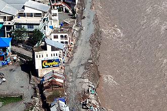 2010 Pakistan floods - Swat river soaring view in 2010 flood