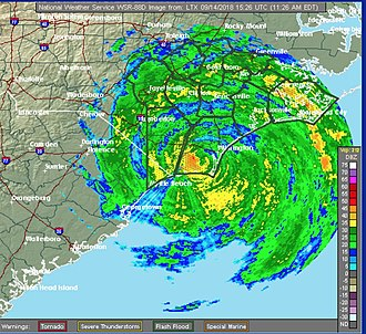 Hurricane Florence - Radar image of Hurricane Florence a few hours after landfall on September 14