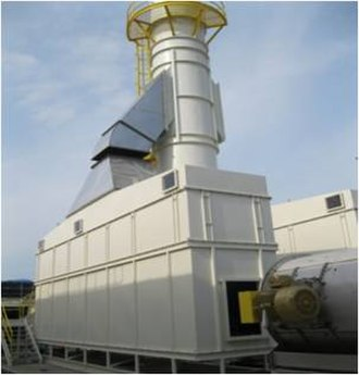 Fluidized bed concentrator - The Adsorber tower and stack of a Fluidized Bed Concentrator.