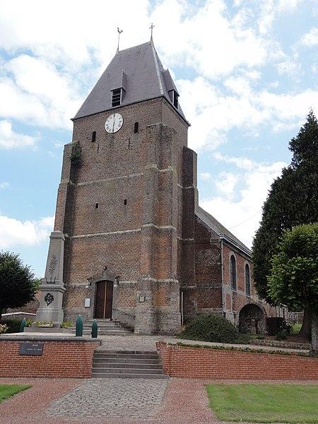 Fontaine-au-Bois (Nord, Fr) église façade
