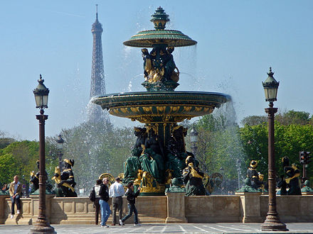 Fountain of River Commerce and Navigation (1840) with the Eiffel Tower in the background. Fontaine de la place de la Concorde Paris 04 07 97 8x6.jpg