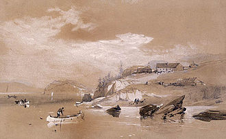 Fort Astoria - A watercolor painting of Fort George in 1845.