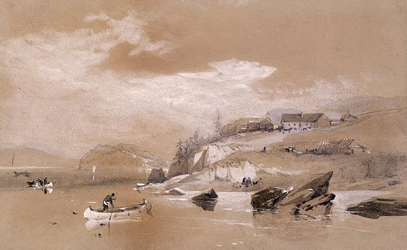 A watercolor of Fort Astoria while under British ownership and called Fort George, 1813–1818.