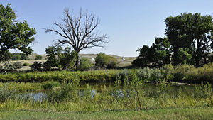 Treaty of Fort Laramie (1851) - Fort Laramie National Historic Site - site with tents across Laramie River where the treaty of 1851 was negotiated