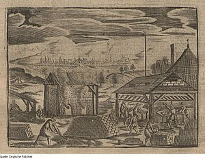 Brickyard - Illustration of workers in a brickyard from Germany, 1695