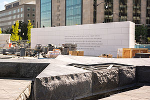 American Veterans Disabled for Life Memorial - Image: Fountain and south wall under construction American Veterans Disabled for Life Memorial