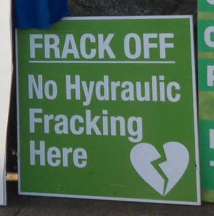 Placard against hydraulic fracturing at Extinction Rebellion (2018) Frack off, Extinction Rebellion (cropped).jpg