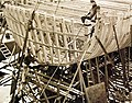 Frame of a mine sweeper under construction, stern view, Jacksonville, Florida, 1942 (27162758690).jpg