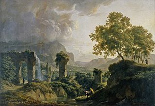 Ideal landscape with a young man killing a snake