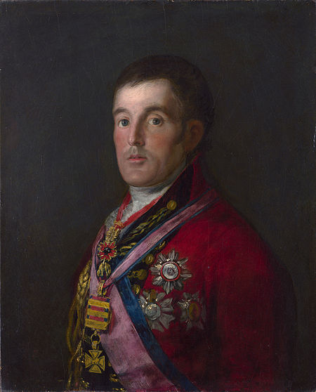 Arthur Wellesley, 1st Duke of Wellington, commander of the Anglo-Portuguese Army in the Peninsular War. Francisco Goya - Portrait of the Duke of Wellington.jpg