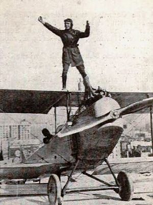 Frank Clarke (pilot) - From a 1921 magazine noting a stunt for Stranger Than Fiction (1921)