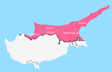 The district boundaries of Northern Cyprus on a political map of the country