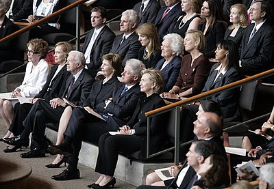 "Funeral service for Lady Bird Johnson. Nancy Reagan, Rosalynn Carter, Jimmy Carter, Laura Bush, Bill Clinton, Hillary Clinton, (second row) Caroline Kennedy, Barbara Bush, Susan Ford Bales, (third row) Maria Shriver, and Patricia ""Tricia"" Nixon Cox attended, representing eight other presidents. Funeral service for Lady Bird Johnson.jpg"