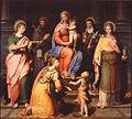 GB Ramenghi Virgen entronizada con niño y los santos Juan Evangelista, Juan Bautista, Francisco, Clara, Magdalena y Catalina 1563 PN Bolonia.jpg