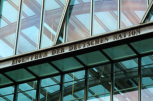 "Germanisches Nationalmuseum - The inscription ""Eigenthum der deutschen Nation"" (""Property of the German Nation"") at the main entrance was installed when the museum was founded in 1852, and was commissioned by Hans von und zu Aufseß"