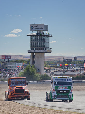 European Truck Racing Championship - Pedro Ignacio García Marco and Jochen Hahn on the Circuito del Jarama in 2013.