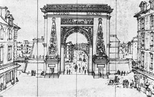 Porte Saint-Denis - Porte Saint-Denis, pen and indian ink. Etching by Gabriel Perelle, 1675. Musée du Louvre, Paris.