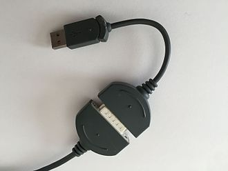 Game port - This Microsoft joystick's output was the traditional game port, but was supplied with a game-port-to-USB adaptor for connection to newer systems.