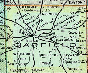 Garfield County, Oklahoma - Early map of Garfield County.