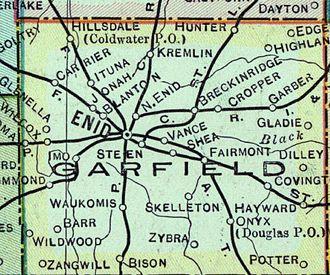 Garfield County, Oklahoma - Early map of Garfield County.