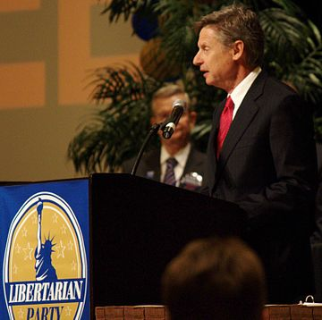 Governor Gary Johnson, 2012 and 2016 Libertarian Party presidential candidate GaryJohnsonLPConvention2012.jpg