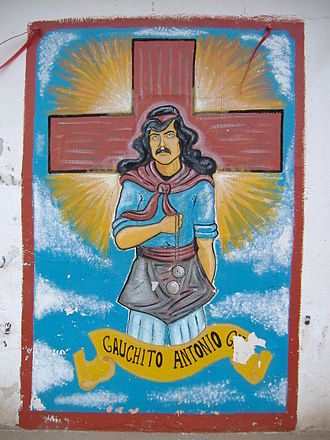 Gauchito Gil - A mural with a traditional depiction of the Gauchito Gil in a suburb of Rosario.
