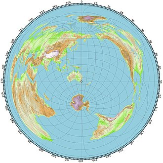 Azimuthal equidistant projection - An azimuthal equidistant projection centered on Sydney