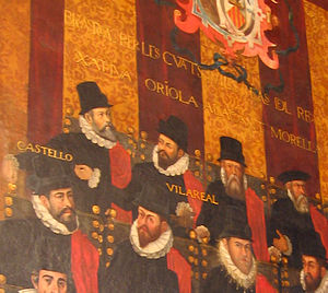 Villarreal - The city's former Valencian name, Vilareal, adorns its representative in a tapestry of the 1592 Valencian Parliament