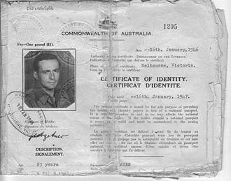 HMT Dunera - Image: Georg Auer certificate of identity