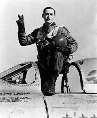 George Andrew Davis Jr. - Davis in the cockpit of his F-86 Sabre jet in South Korea during his 1952 tour in the war