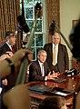 George W. Bush, Spencer Abraham, and Larry Lindsey.jpg