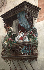 Spanish Woman on Balcony