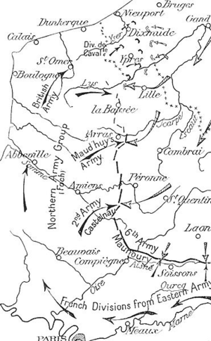 Winter operations 1914–1915 - Image: German and Allied operations, Artois and Flanders, September November 1914
