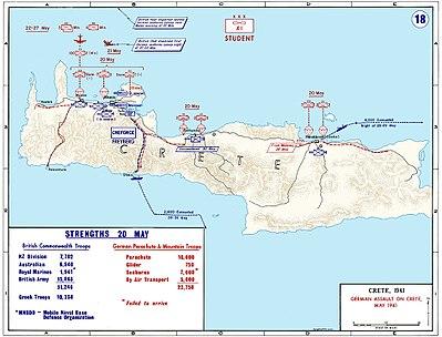Carte de la Crète, avec description des forces en présence.