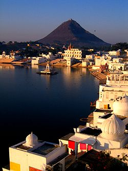 Ghats at Pushkar lake, Rajasthan.jpg