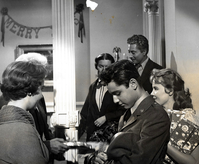 79386dd51c11c Baker (far right) on the set of Giant with Sal Mineo and Elizabeth Taylor